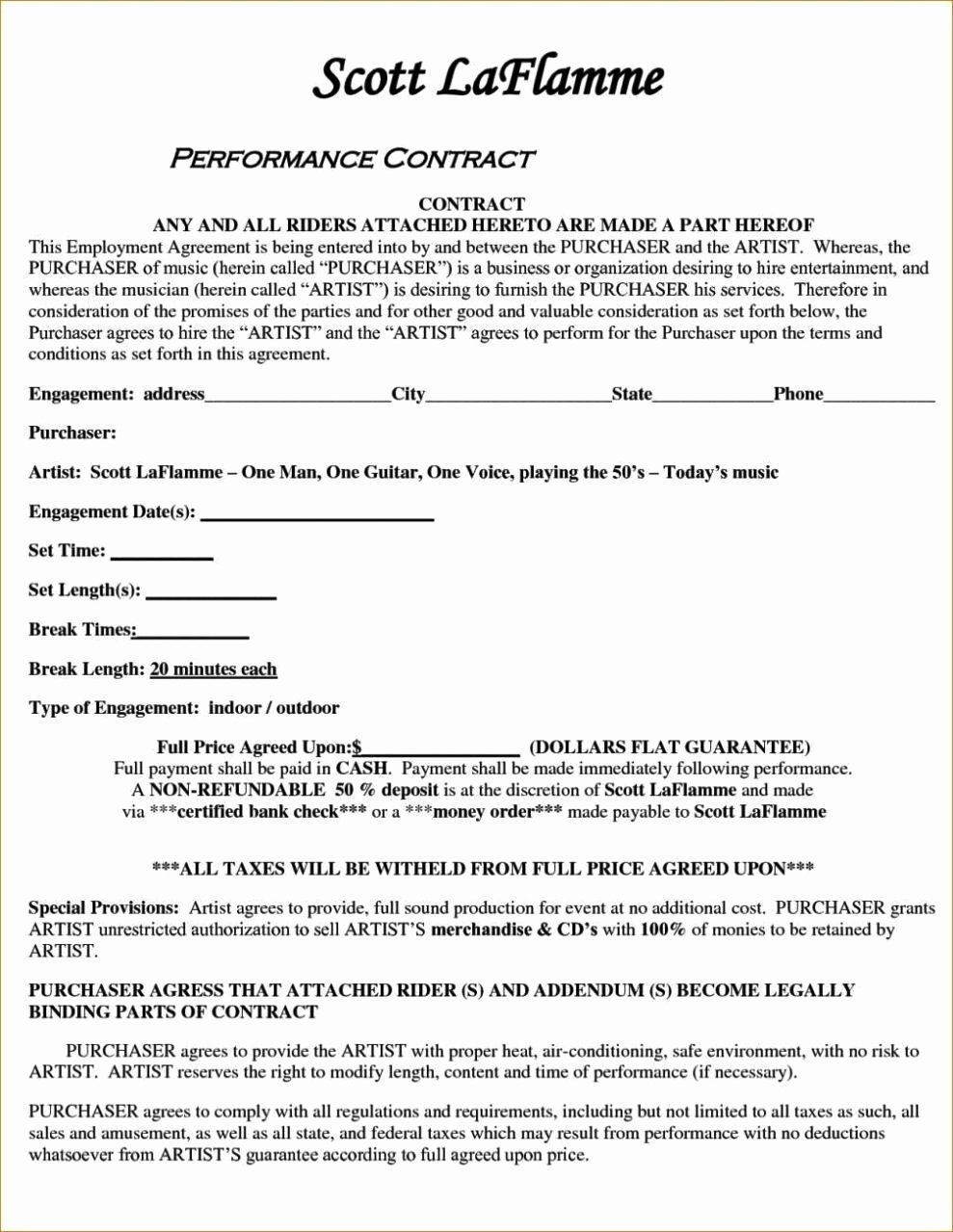 Artist Performance Contract Template Lovely Artist Performance Contract Template Sampletemplatess