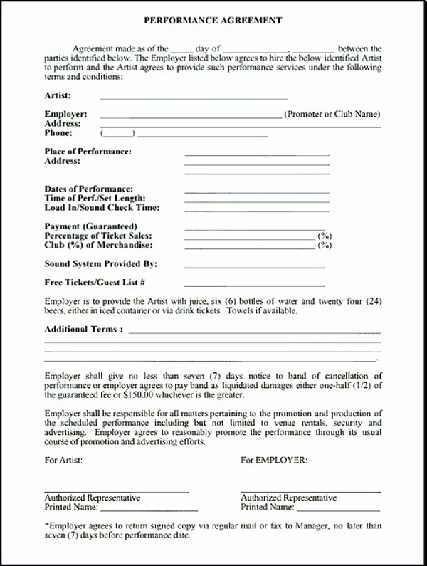 Artist Performance Contract Template Unique 5 Band Contract Examples Pdf