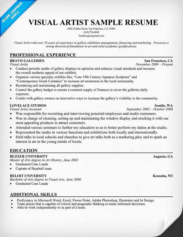 Artist Resume Template Word Fresh Example Resume Resume format Artist