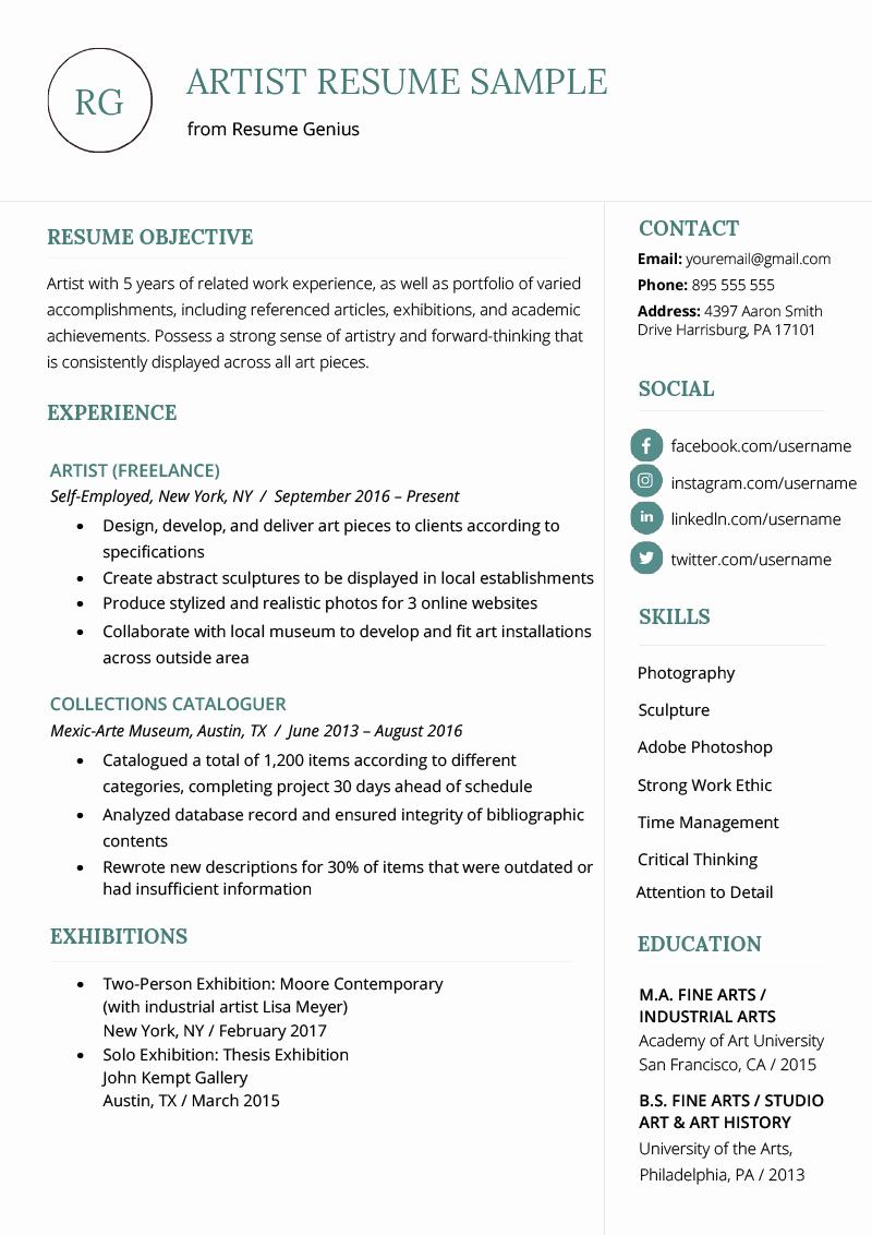 Artist Resume Template Word Lovely Artist Resume Sample & Writing Guide