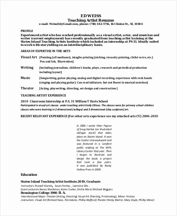 Artist Resume Template Word Unique Teaching Artist Resume Best Resume Collection