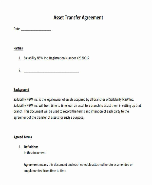 Asset Purchase Agreement Template Awesome 8 asset Agreement Templates Word Pdf
