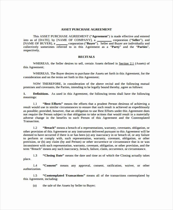 Asset Purchase Agreement Template Awesome 8 Generic Purchase Agreement form Free Sample Example