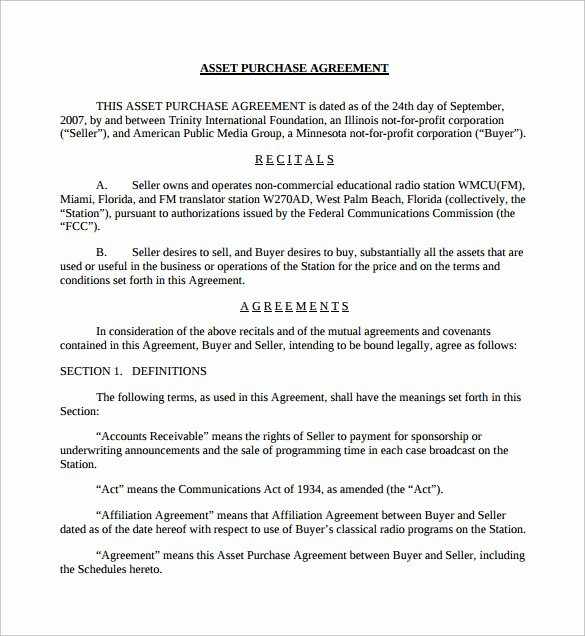 Asset Purchase Agreement Template Elegant 9 Sample asset Purchase Agreement Templates