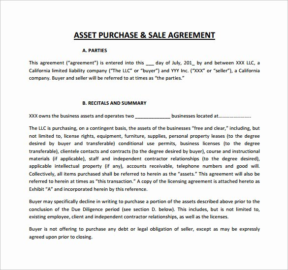 Asset Purchase Agreement Template New 9 Sample asset Purchase Agreement Templates