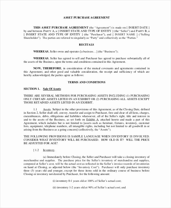 Asset Purchase Agreement Template New asset Purchase Agreement 7 Free Word Pdf Documents
