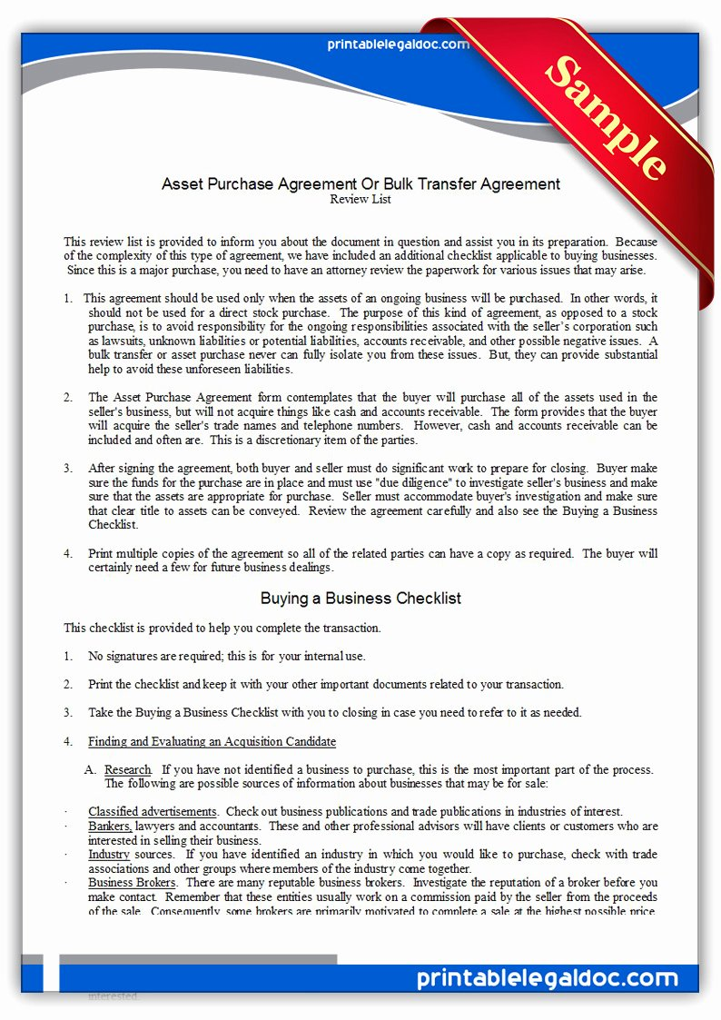Asset Purchase Agreement Template New Free Printable asset Purchase Agreement form Generic