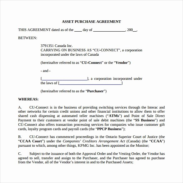 Asset Purchase Agreement Template Unique 9 Sample asset Purchase Agreement Templates