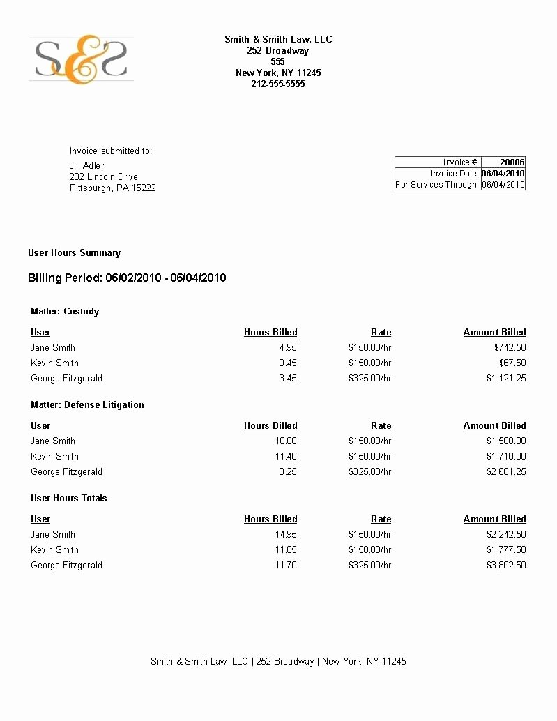 Attorney Billable Hours Template Beautiful attorney Billable Hours Invoice Template the Story