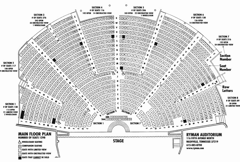 Auditorium Seating Chart Template Unique Ryman Seating Chart Ryman Auditorium Nashville Tickets