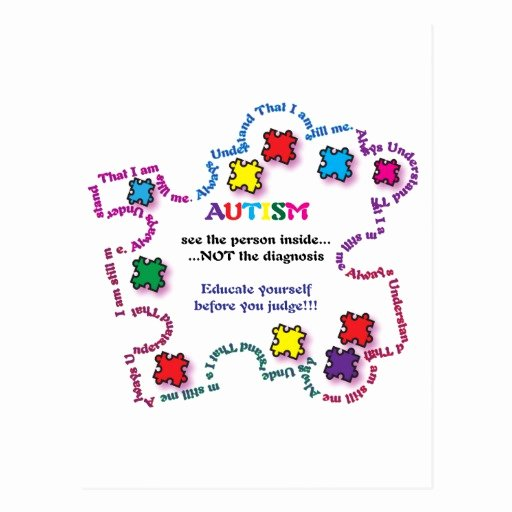 Autism Puzzle Piece Template Unique Autism Puzzle Piece Postcards Autism Puzzle Piece
