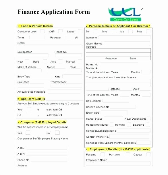 Auto Credit Application Template Fresh Business Credit Application Template Free Policy and