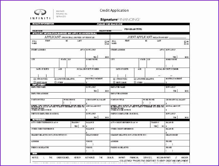 Auto Credit Application Template New Auto Credit Application Template form Templ On Free