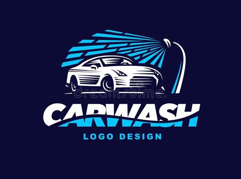 Auto Detailing Logo Template Beautiful Logo Car Wash Dark Background Stock Vector