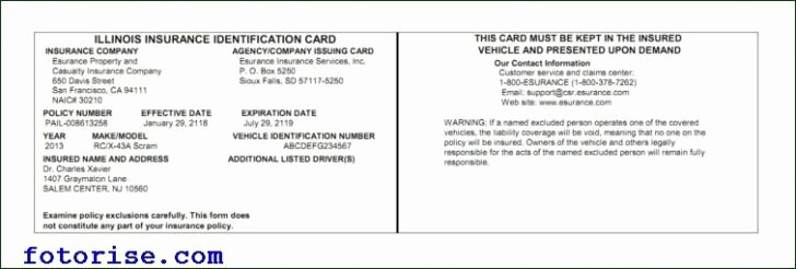 Auto Insurance Card Template Fresh Free Fake Auto Insurance Card Template