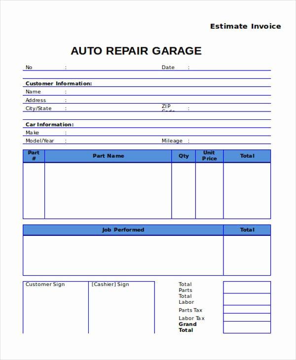Auto Repair Estimate Template Elegant 7 Auto Repair Invoice Templates – Free Sample Example