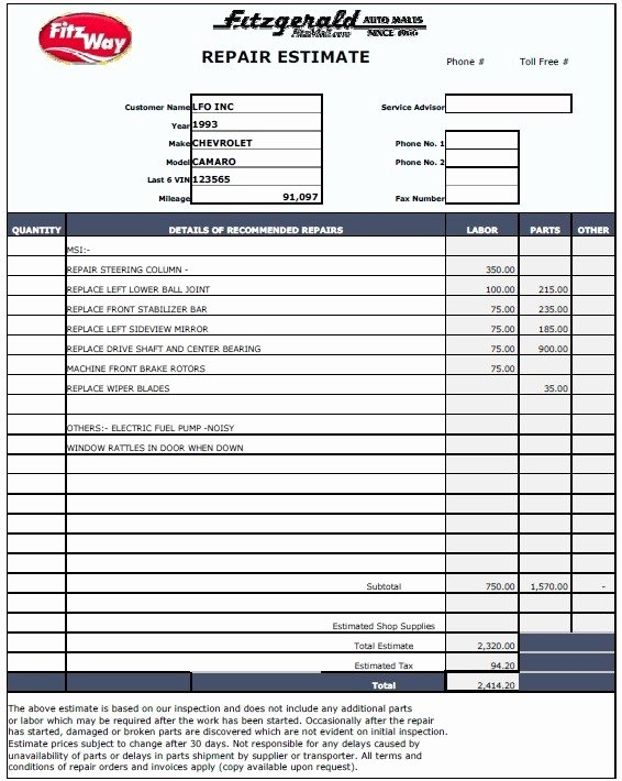 Auto Repair Estimate Template New 13 Free Sample Auto Repair Estimate Templates Printable