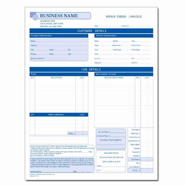Auto Repair Estimate Template New Automotive Repair Invoice Work order Estimates