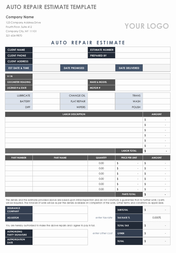 Auto Repair Estimate Template New Free Estimate Templates
