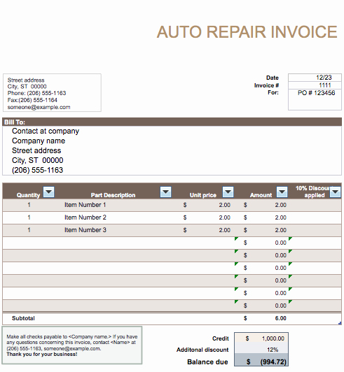 Auto Repair Invoice Template Beautiful Auto Repair Invoice Template Word