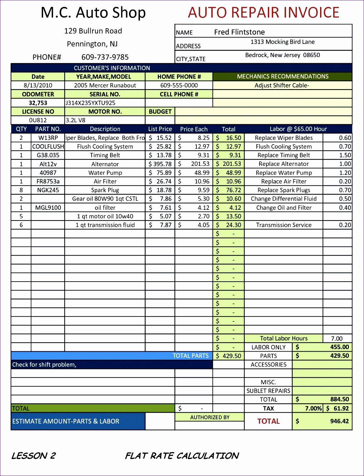 Auto Repair Invoice Template Elegant 10 Sample Proforma Invoice Excel Template Exceltemplates