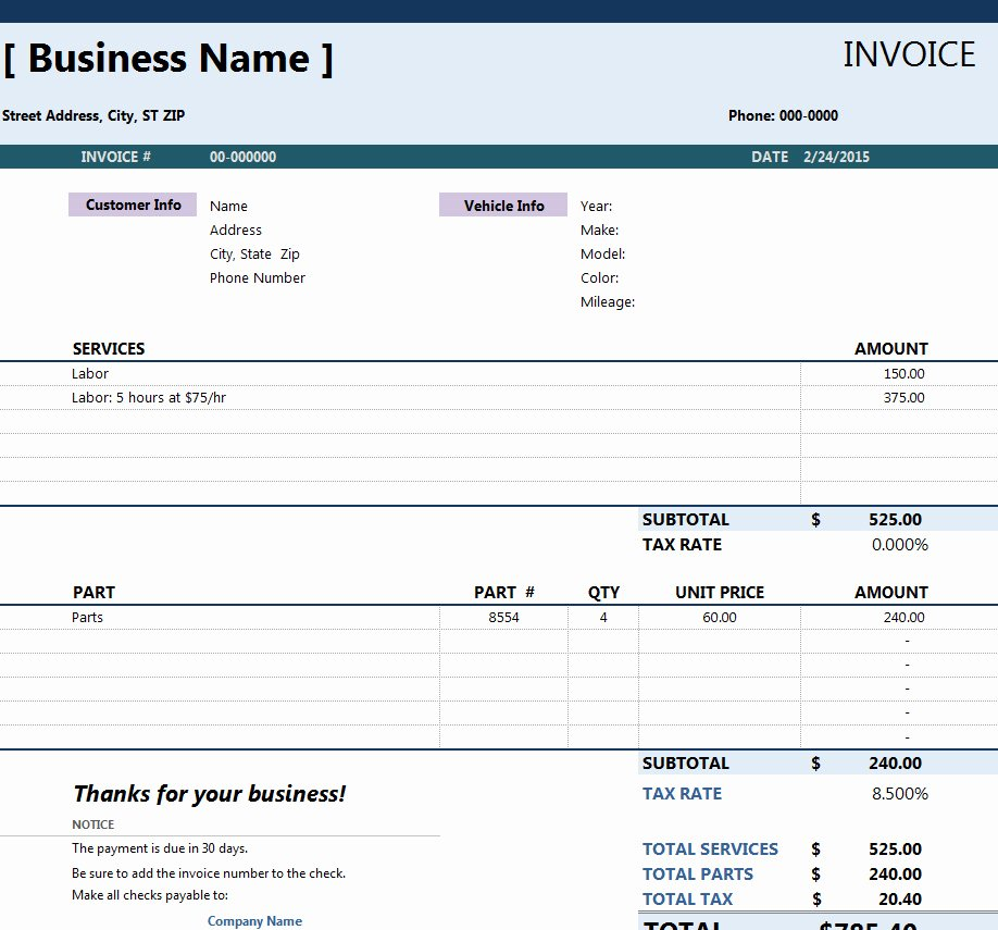 Auto Repair Invoice Template Inspirational Invoicing Templates