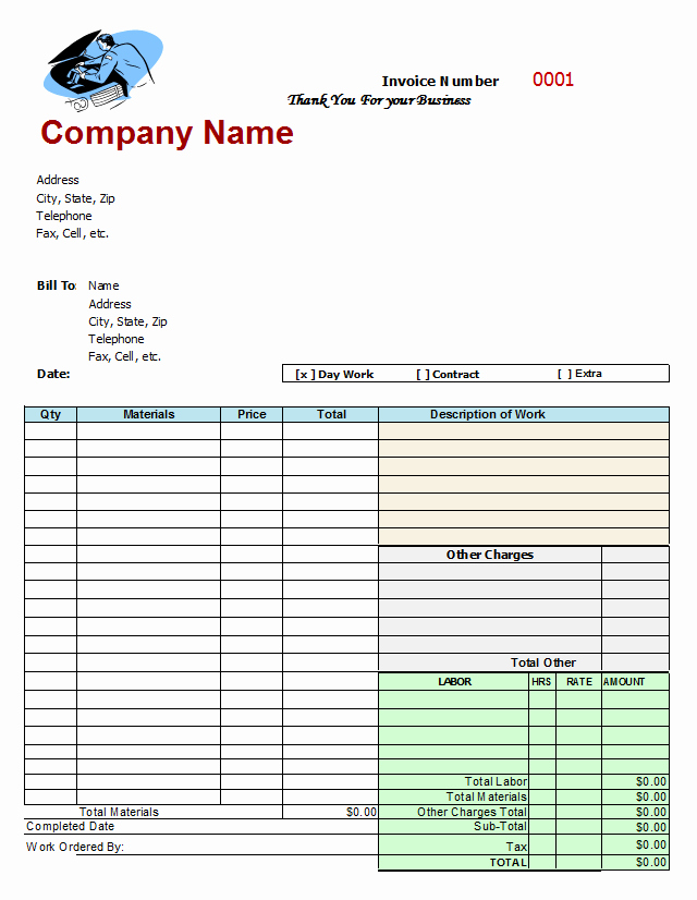 Auto Repair Invoice Template Inspirational Mechanics Invoice