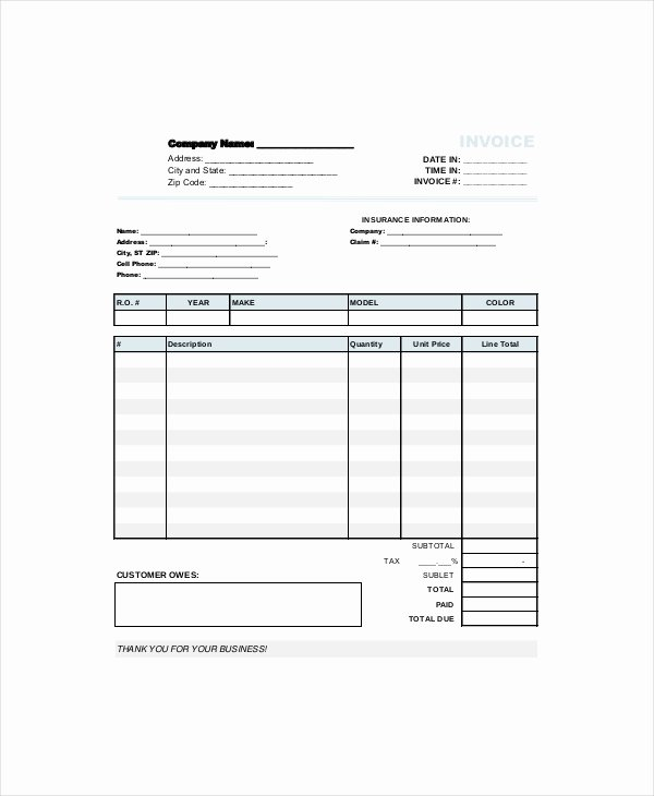 Auto Repair Invoice Template Luxury Repair Invoice Template 7 Free Word Excel Pdf