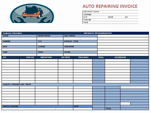 Auto Repair Invoice Template New Auto Repair Invoice Template