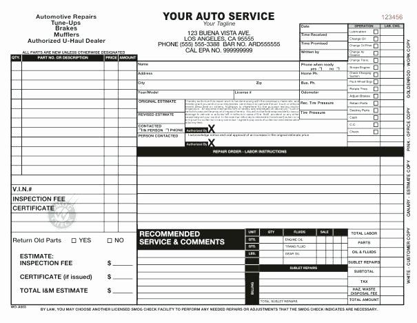 Auto Repair order Template Awesome Extra Work order form Template Printable Best Word