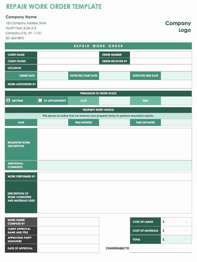 Auto Repair order Template Beautiful 15 Free Work order Templates