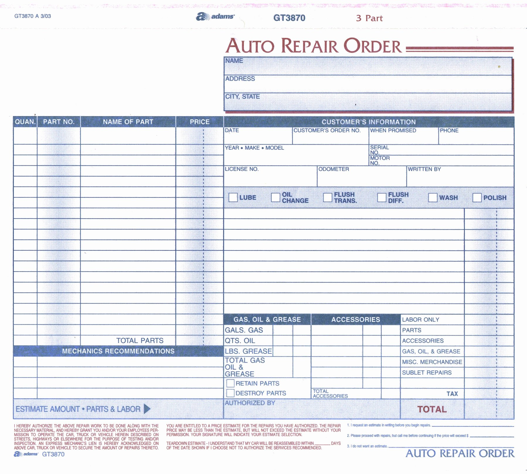 Auto Repair order Template Beautiful Product