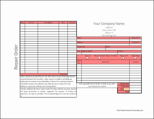 Auto Repair order Template Elegant Free Simple Automotive Repair order From formville