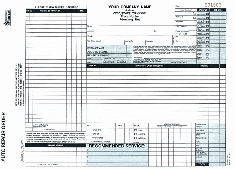 Auto Repair order Template New Inspirational Auto Repair Invoice forms Pics Free