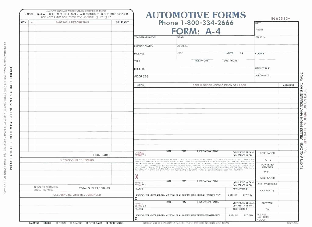 Auto Repair Receipt Template Awesome Mechanic Receipt Template – Samplethatub