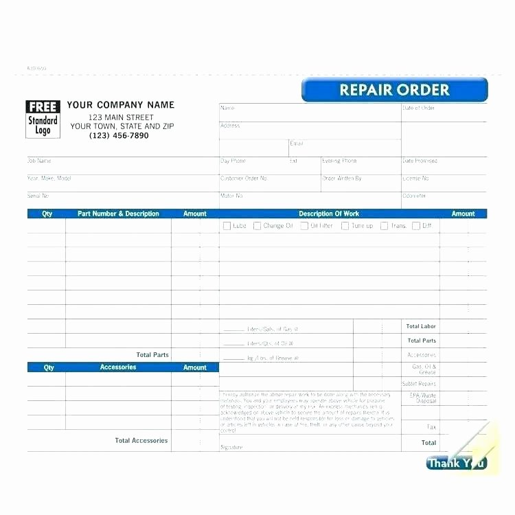 Auto Repair Receipt Template Beautiful Mechanic Receipt Template Free Printable Auto Repair