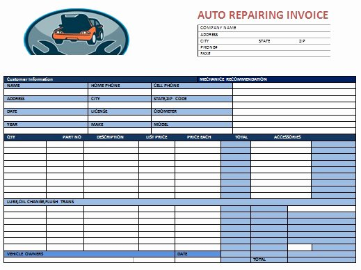 Auto Repair Receipt Template Elegant Auto Body Shop Invoice Template – Amandae