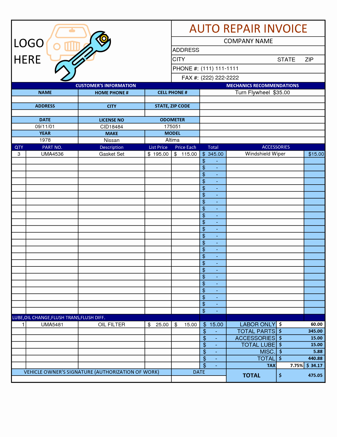 Auto Repair Receipt Template Lovely Mechanic Shop Invoice