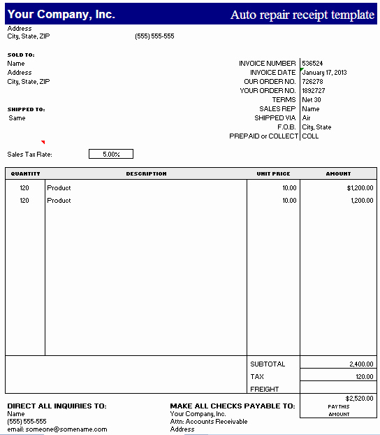 Auto Repair Receipt Template Luxury Auto Repair Receipt Template – Excel