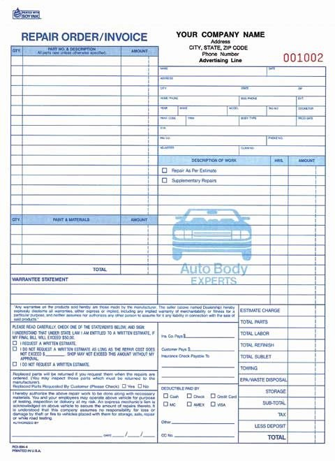 Auto Repair Receipt Template Unique 4 Part Auto Body Repair order Invoice Carbonless