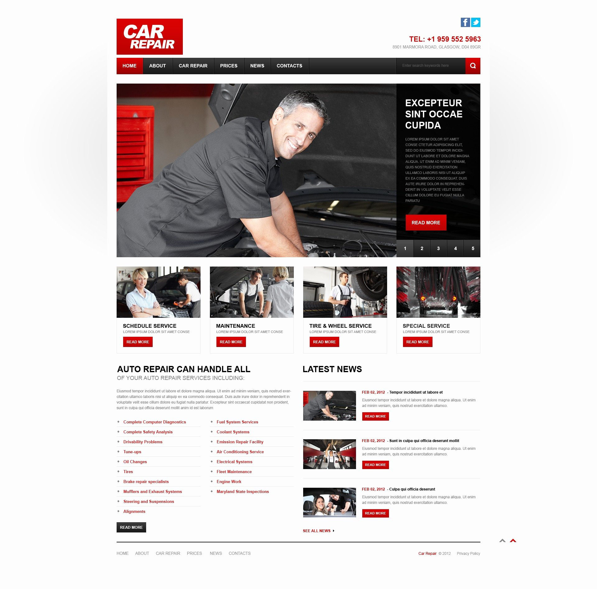 Auto Repair Website Template Beautiful Car Repair Responsive Website Template