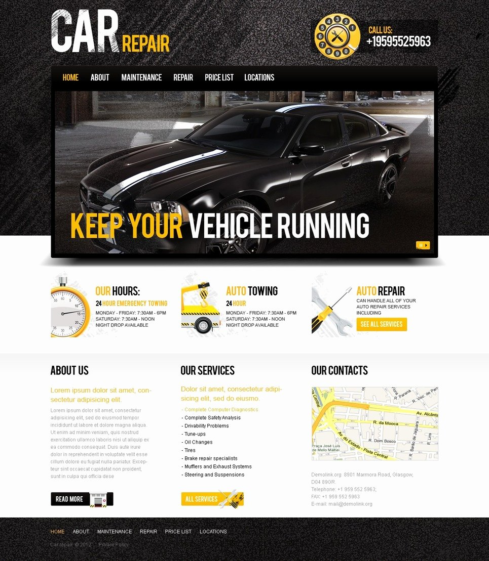 Auto Repair Website Template Beautiful Car Repair Website Template