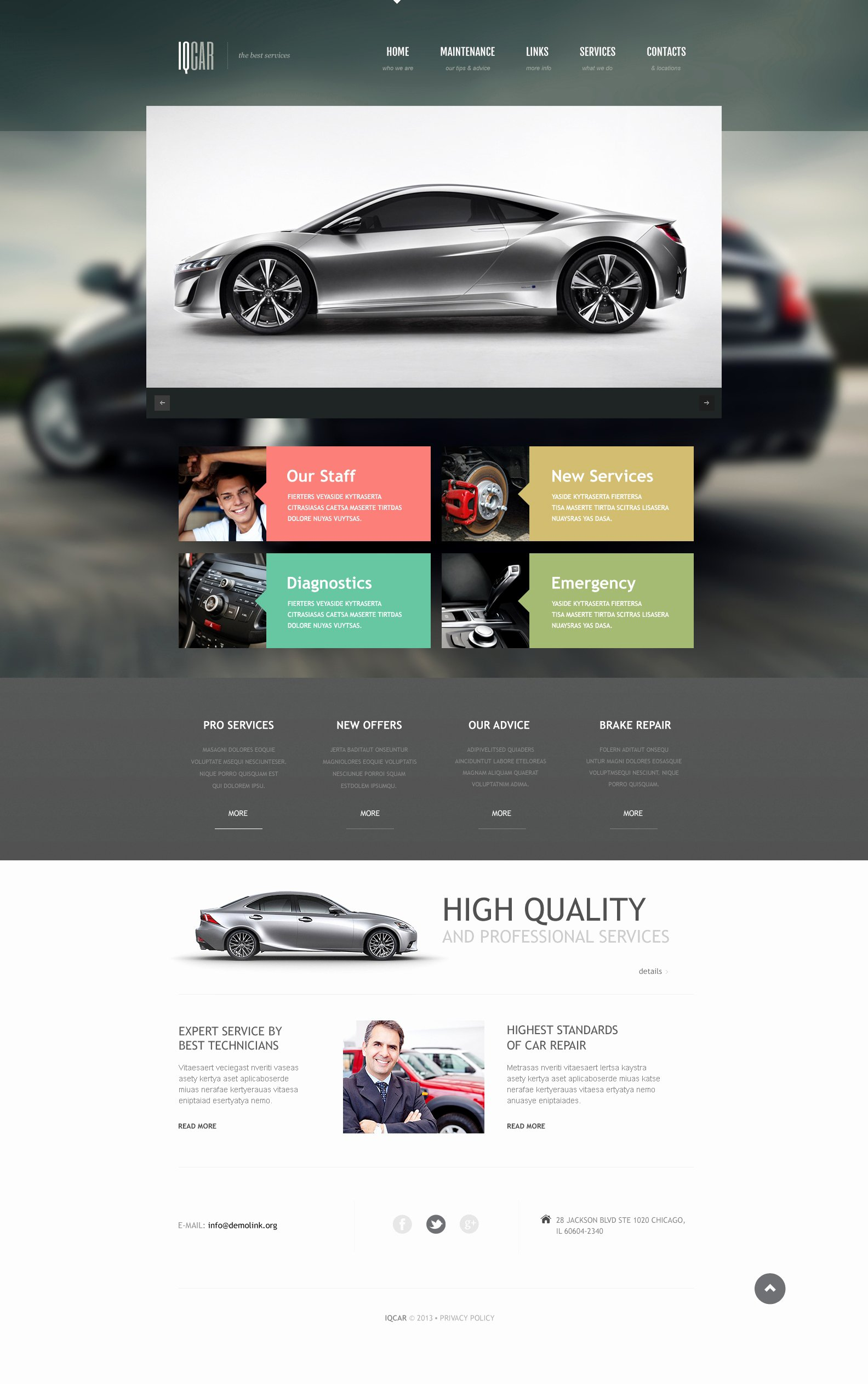 Auto Repair Website Template Elegant Car Repair Responsive Website Template