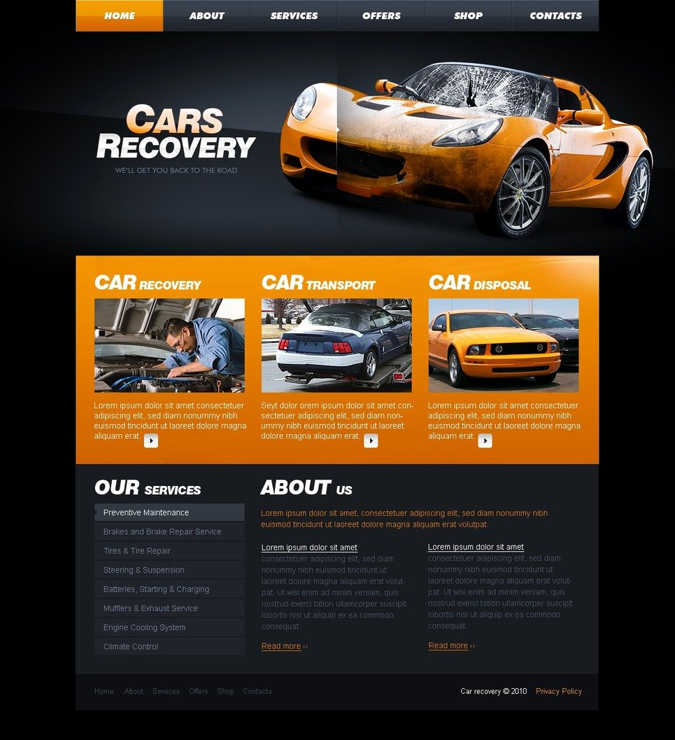 Auto Repair Website Template Elegant Car Repair Website Template