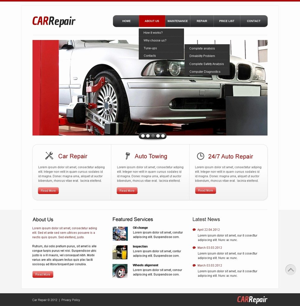 Auto Repair Website Template Lovely Car Repair Website Template