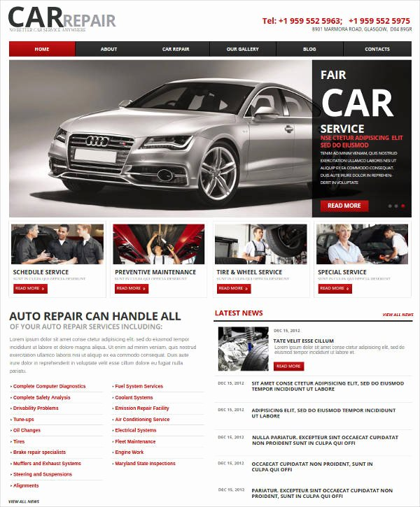 Auto Repair Website Template Luxury 25 Auto Repair Website themes & Template