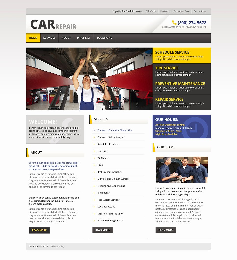 Auto Repair Website Template Luxury Car Repair Responsive Website Template