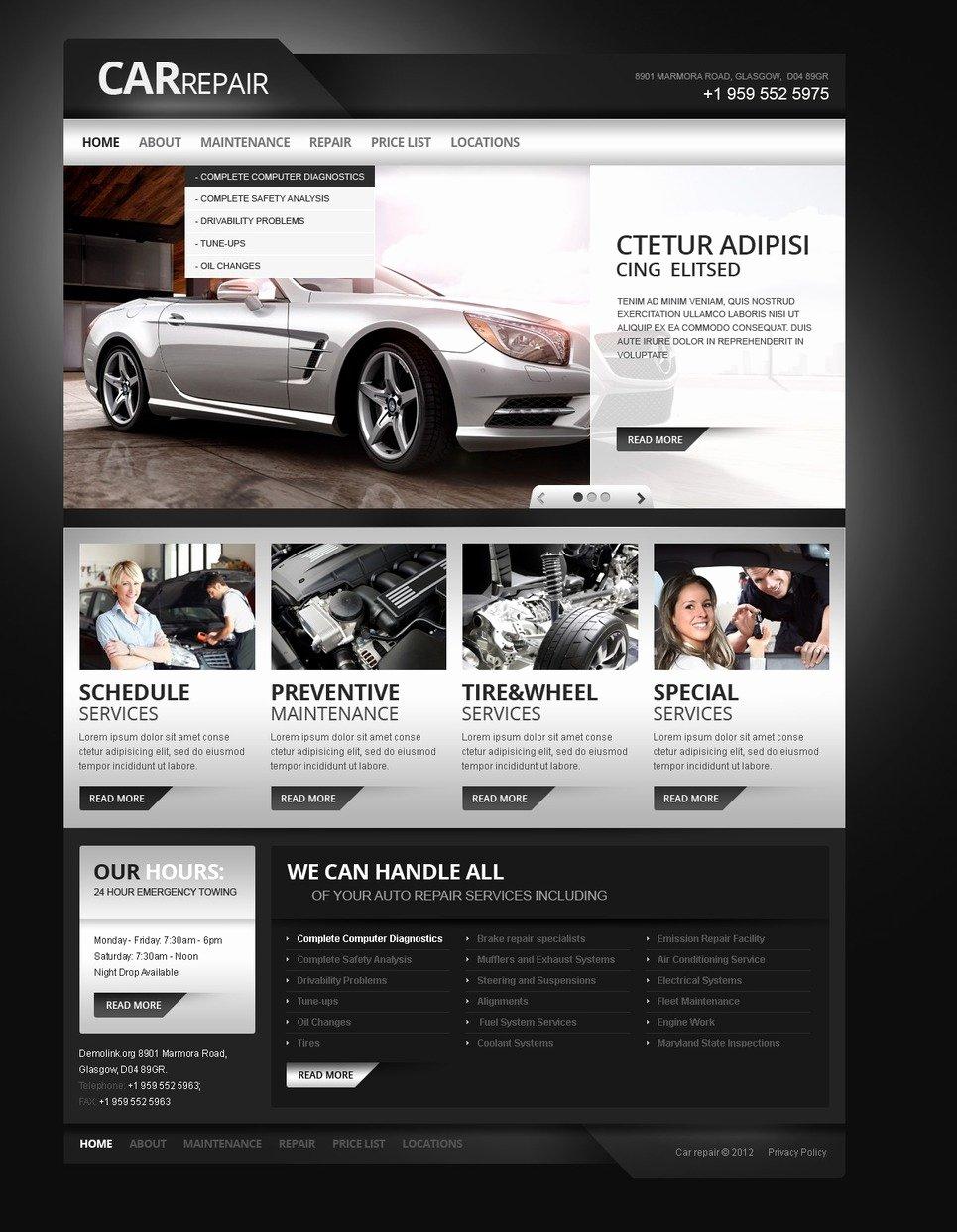 Auto Repair Website Template New Car Repair Responsive Website Template