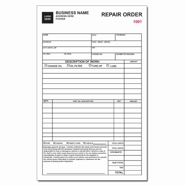 Auto Work order Template Elegant Auto Repair Invoice Work orders Custom Carbonless