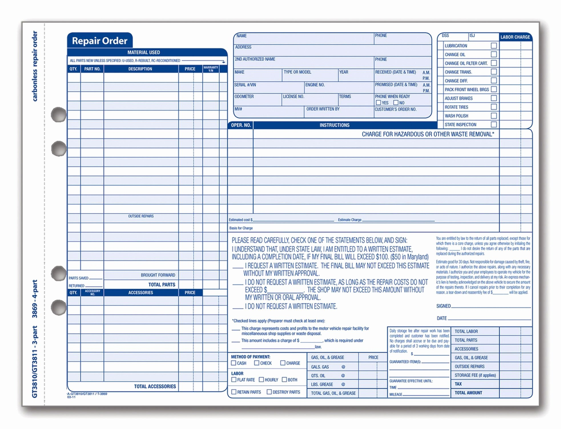 Auto Work order Template Fresh Adams Garage Repair order forms 8 5 X 11 44 Inches 3 Part
